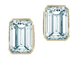 Tommaso Design™ 8x6mm Emerald Cut Genuine Aquamarine Earrings style: 23689