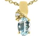 Tommaso Design™ Genuine Oval Aquamarine Pendant style: 23725