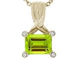 Tommaso Design™ Genuine Emerald Cut Peridot Pendant style: 23784