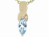 Tommaso Design™ Genuine Marquee Cut Aquamarine and Diamond Pendant style: 23804