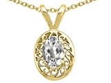 Tommaso Design™ Oval 6x4mm Genuine White Topaz Pendant Necklace style: 23989