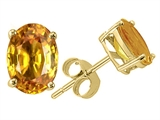 Tommaso Design™ Oval 7x5 mm Genuine Orange Sapphire Earrings Studs style: 24277