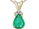 Tommaso Design™ Pear Shape Genuine Emerald Pendant Necklace style: 24421