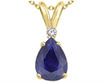 Tommaso Design™ Pear Shape 8x6mm Genuine Sapphire Pendant style: 24468