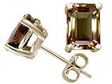 Tommaso Design™ Emerald Cut 8x6mm Genuine Smoky Quartz Earrings style: 24584