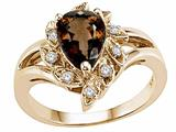 Tommaso Design™ Pear Shape 8x6mm Genuine Smoky Quartz Ring style: 24625