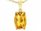 Tommaso Design™ 8x6mm Cushion Octagon Cut Genuine Citrine Pendant Necklace style: 24668