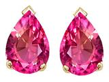 Tommaso Design™ Pear Shape 10x7mm Simulated Pink Topaz Earrings Studs style: 25102