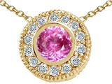 Tommaso Design™ Round 5mm Created Pink Sapphire Pendant Necklace style: 25197