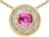 Tommaso Design™ Round 5mm Simulated Pink Topaz And Pendant style: 25198