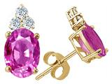 Tommaso Design™ Oval 8x6mm Created Pink Sapphire Earrings Studs style: 25209