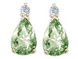 Tommaso Design™ Pear Shape 8x6mm Green Amethyst Earrings style: 25294