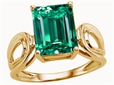 Tommaso Design™ Emerald Cut 10x8mm Simulated Emerald Solitaire Ring style: 25495