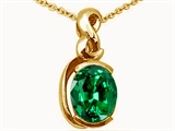 Tommaso Design™ Oval 9x7mm Simulated Emerald Pendant Necklace style: 25606