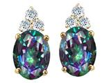Tommaso Design™ Oval Rainbow Mystic Topaz Earrings Studs style: 25800