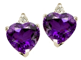 Tommaso Design™ Heart Shape Amethyst and Genuine Diamonds Earrings Studs style: 25836