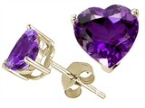 Tommaso Design™ Heart Shape 6mm Genuine Amethyst Earrings Studs style: 25842