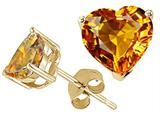 Tommaso Design™ Heart Shape Genuine Citrine and Earrings Studs style: 25844