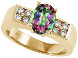 Tommaso Design™ Oval 8x6mm Mystic Rainbow Topaz Ring style: 25988