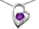 Tommaso Design™ Heart Shaped Genuine Amethyst 7mm Round Pendant Necklace style: 26676