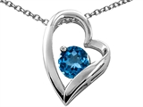 Tommaso Design™ Heart Shaped Genuine Blue Topaz 7mm Round Pendant Necklace style: 26677