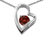 Tommaso Design™ Heart Shaped Genuine Garnet 7mm Round Pendant Necklace style: 26679