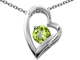 Tommaso Design™ Heart Shaped Genuine Peridot 7mm Round Pendant Necklace style: 26680