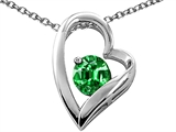 Tommaso Design™ Heart Shaped Simulated Emerald 7mm Round Pendant Necklace style: 26686