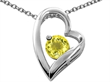 Tommaso Design™ Heart Shaped Genuine Lemon Quartz 7mm Round Pendant Necklace style: 26687