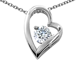 Tommaso Design™ Heart Shaped Genuine White Topaz 7mm Round Pendant Necklace style: 26691