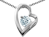 Tommaso Design™ Heart Shaped Genuine Aquamarine 7mm Round Pendant Necklace style: 26692