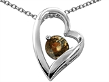 Tommaso Design™ Heart Shaped Genuine Smoky Quartz 7mm Round Pendant Necklace style: 26693