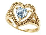 Tommaso Design™ Heart Shape 6mm Genuine Aquamarine Ring style: 28640
