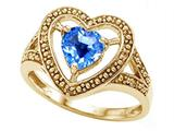 Tommaso Design™ Heart Shape 6mm Genuine Blue Topaz Ring style: 28641