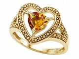 Tommaso Design™ Heart Shape 6mm Genuine Citrine Ring style: 28642
