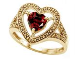 Tommaso Design™ Heart Shape 6mm Genuine Garnet Ring style: 28643