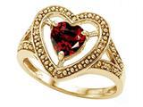 Tommaso Design™ Heart Shape 6mm Genuine Garnet Ring style: 28643