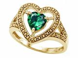Tommaso Design™ Heart Shape 6mm Simulated Emerald Ring style: 28646