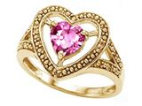 Tommaso Design™ Heart Shape 6mm Simulated Pink Tourmaline Ring style: 28650