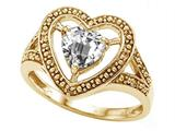 Tommaso Design™ Heart Shape 6mm Genuine White Topaz Ring style: 28659