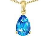 Tommaso Design™ Genuine 9x6mm Pear Shape Blue Topaz Pendant Necklace style: 300007