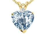 Tommaso Design™ 14k 8mm Heart Shaped Simulated Aquamarine and Diamond Pendant Necklace style: 302298