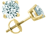 Tommaso Design™ Round Genuine Aquamarine Earrings Studs style: 302330