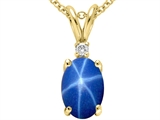 Tommaso Design™ Created Star Sapphire and Genuine Diamond Pendant Necklace style: 302342