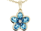 Tommaso Design™ .85 inch long Flower Pendant made with one Diamond and Genuine Pear Shape Blue Topaz. style: 303458