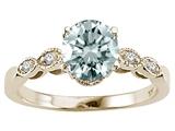 Tommaso Design™ Genuine Aquamarine Round 7mm s Solitaire Engagement Ring style: 303872