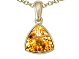 Tommaso Design™ Trillion Cut Genuine Citrine Pendant Necklace style: 306049