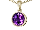 Tommaso Design™ 7mm Round Genuine Amethyst Pendant style: 308364