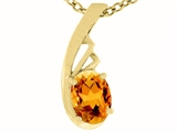 Tommaso Design™ Oval Genuine Citrine Pendant Necklace style: 308425