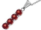 Tommaso Design™ Long Genuine Rhodolite Garnet Straight Journey Pendant style: 308443